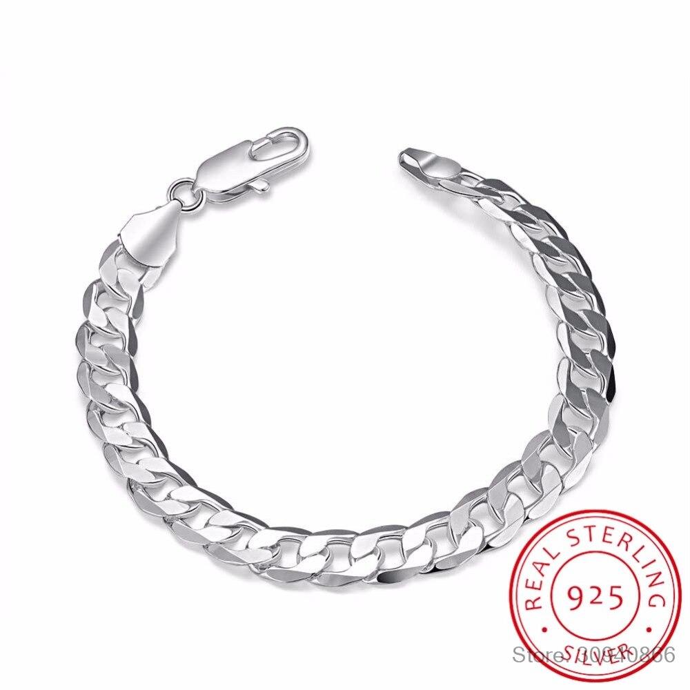 LEKANI Men's Fine Jewelry 8 Inch 20cm Bracelet 925 Sterling Silver Fashion Charm 8MM Sideways Flat Chain Bracelets Bangle