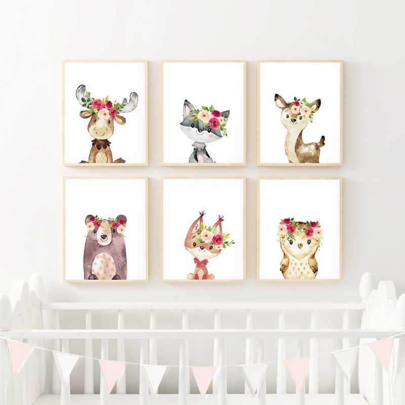 Aquarela animais do bebê moose cartaz da lona boho berçário arte da parede impressão pintura floral animais imagens do quarto da menina do bebê decoração