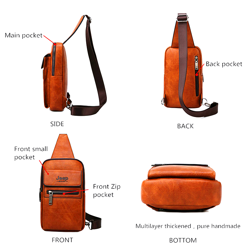 Image 3 - JEEP BULUO High Quality Men Chest Bags Split Leather Large Size Shoulder Crossbody Bag For Young Man Famous Brand Sling Bags-in Waist Packs from Luggage & Bags