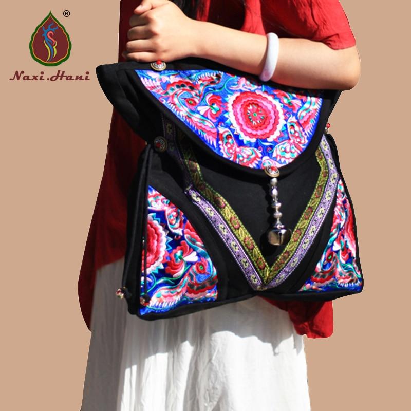 Original National brodé femmes sacs bleu satin à la main sacs à bandoulière vintage toile lagre sacs de voyage
