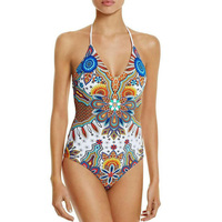 2017 Sexy One Piece Swimsuit Printed Ethnic Swimwear Bandage High Waist Bikinis Women Cut Out Bodysuit