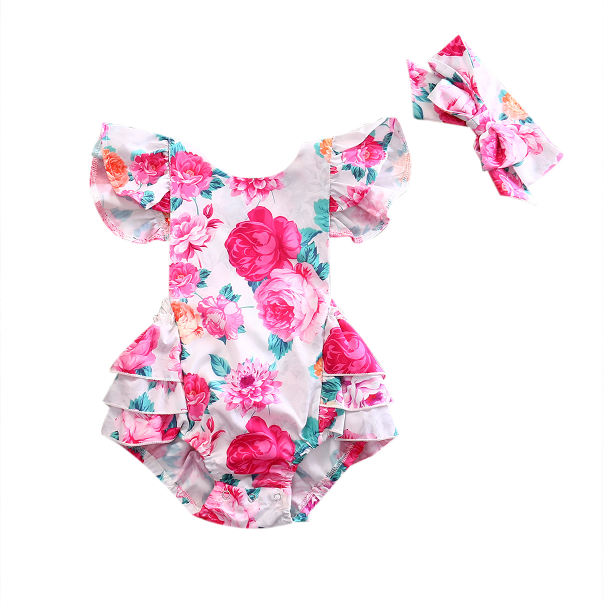 2PCS Newborn Baby Girls Floral Clothing Ruffles Skirted Kids Jumpsuit Headband Infant Bebes Sunsuit Outfits Clothes 2017 sequins mermaid newborn baby girl summer tutu skirted romper bodysuit jumpsuit headband 2pcs outfits kids clothing set