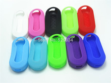 10 Color Silicone car key cover For Fiat 500 Flip Remote Shell Blank Fob to Protect car accessories auto parts