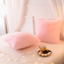 Ins Nordic pillow Cushion Plush pink living room sofa decoration cushion case Pillowcase