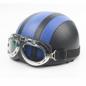 Image 4 - חצי קסדת אופנוע פנים פתוחים אופניים חשמליים קסדה משקפי מגן עבור קטנוע רכיבה על אופניים סיור בציר קסדת להארלי
