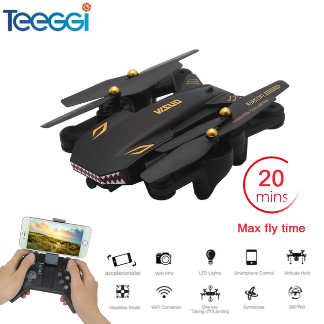 VISUO XS809S Foldable Selfie RC Drone with Wide Angle 2MP HD Camera WiFi FPV XS809HW Upgraded RC Quadcopter Helicopter Mini Dron