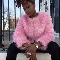 Короткие пушистые искусственный мех пальто для женщин зимние теплый искуственный Мех Розовый Черный Женская мода уличная Дамы Новый Карди...