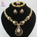Fashion 4Pcs Costume Jewellery Sets Women Wedding  Gold Plated Drop Austrian Crystal African Party Fine Jewelry Set