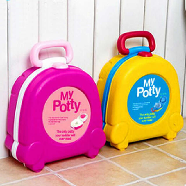 New Baby Girl Boy Portable Traveling Car Squatty Potty Baby WC Toilet Urinal Yellow Pink Potty Kids Trainers Seat Toilet