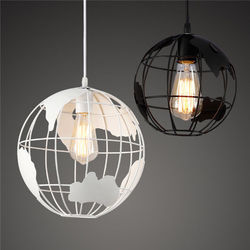 Herstellen oude manieren  smeedijzeren decoratieve kroonluchter  globe vorm bal lijn opknoping E27 droplight  woondecoratie verlichting-in Hanglampen van Licht & verlichting op