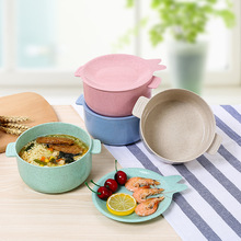 Portable Household Tableware Wheat Straw Lunch Box Student Cute Plastic Instant Noodles Salad Soup Dinnerware Bento dihe wheat straw skid resistance lengthen stewed noodles chopsticks