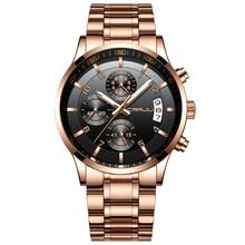 Watches Men Luxury Brand  Chronograph Men Business Watch Waterproof Rose Gold Full Steel Men's Quartz Watch Relogio Masculino