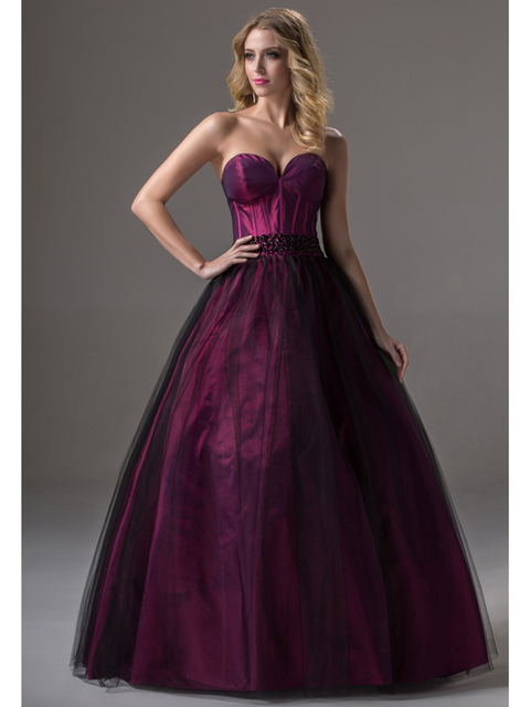 7b0f6a8035 Simple Purple Black Two Tones Long Floor Length Ball Gown Sweetheart Tulle  Princess Senior Prom Dresses 2016