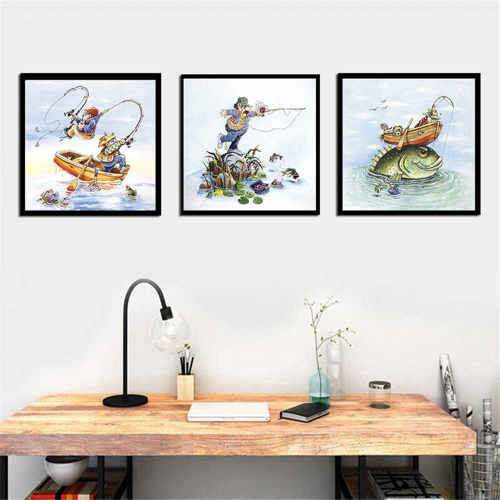 Crazy fishing fisherman canvas painting wall pictures for living room cute poster art picture print decoration
