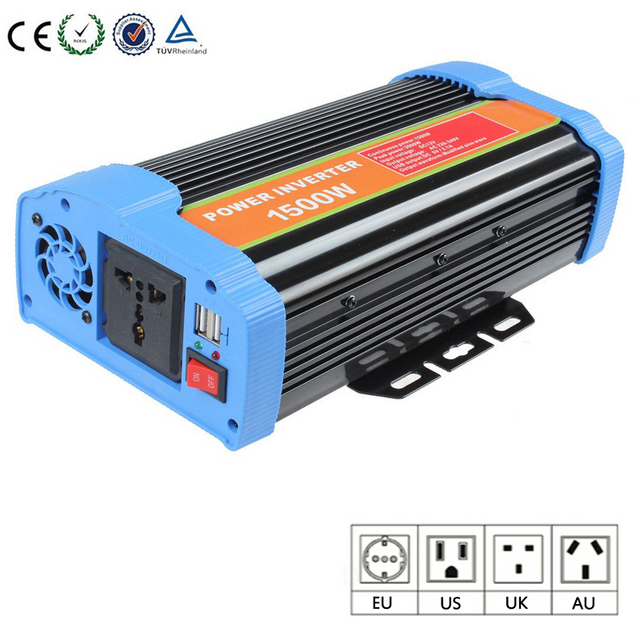 12V/24V  To 110V/220V Continuous Power 1500 W Inverter Portable Modifier Sine Wave With USB Converter Adapter Power Inverter