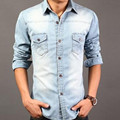 Популярные классические 2016 весна высокое качество Повседневная мода рубашка джинсовая куртка Тонкий Тенденция мыть джинсовой рубашку с длинными рукавами