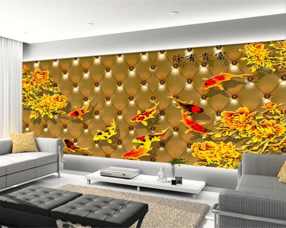 Moderne thuis d behang goud reliëfs negen karper foto