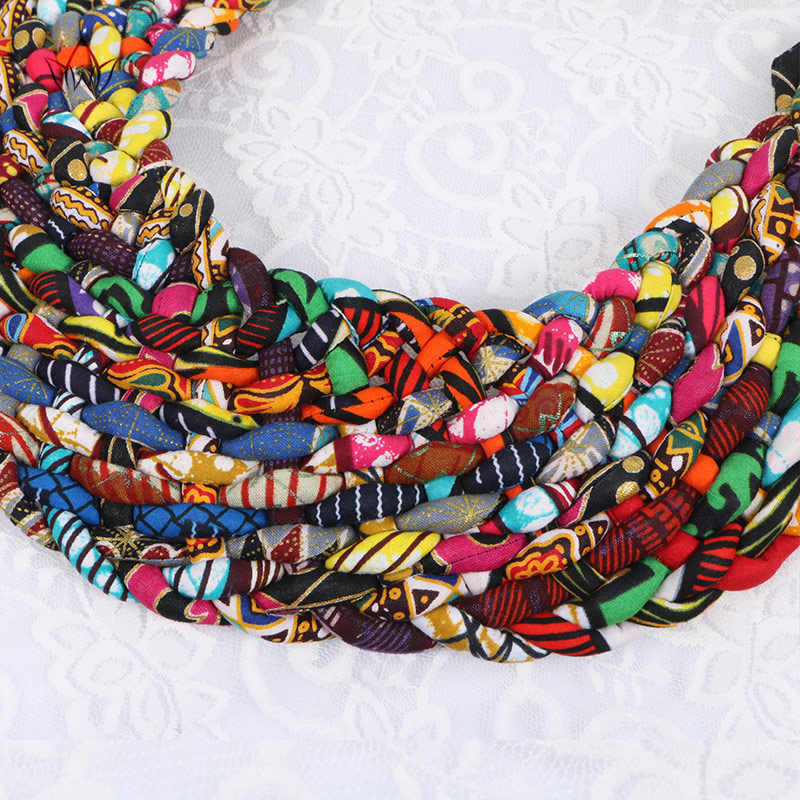 2019 Phi Vòng Cổ Bộ Lạc Dân Tộc Đồ Trang Sức Ankara Vòng Cổ Dệt & Xoắn Vòng Cổ Châu Phi Vải Mùa Hè Đồ Trang Sức WYB145