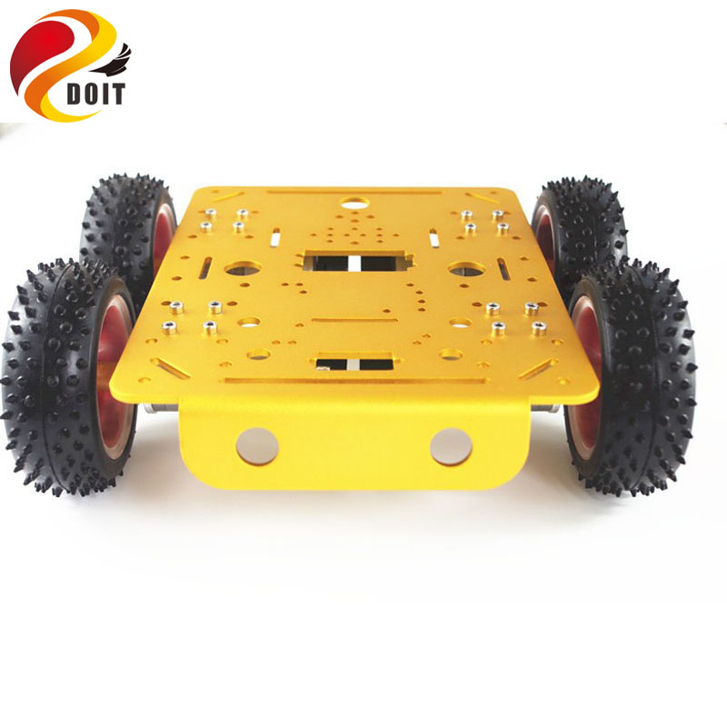 DOIT Yellow C300 Metal Car Chassis 4wd with Aluminum Alloy Chassis/Frame with Robotic Arm Interface Holes for Modification RC