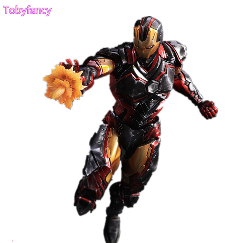 Iron Man Play Arts Kai Avengers PVC Action Figure Ironman Hulk Toy 25cm Anime Movie Iron Man Playarts Kai Superhero