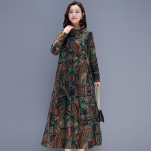 Green Velvet dress women plus size elegant long sleeve vintage red print midi party dresses winter 2019 spring warm clothes