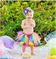 Rainbow Meninas Newborn infant toddler bebê tutu com ribbion bow
