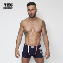 Pink Heroes Brand men underwear Hot sale men's cotton sexy Boxers men Underwear slip Man male boy underpant new arrived 5color