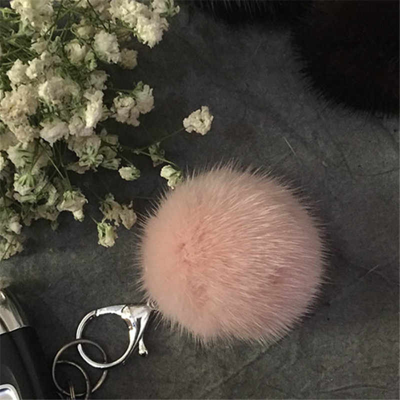Moda Fluffy Pele De Vison Pele De Vison Pom Keychain Bag Pingente Chaveiro Carro Chaveiro Ms. Puff Pingente Diy Jóias.