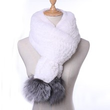 Стильный шарф из натурального меха для женщин, Зимний натуральный мех кролика рекс с лисьим помпоном, шарфы, женские шарфы с лисьим меховым помпоном KWA644