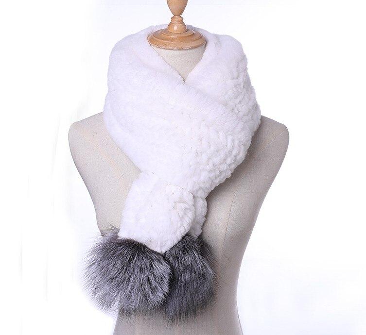 Nouveau Style vraie écharpe de fourrure femmes hiver naturel Rex fourrure de lapin avec renard boule foulards enveloppe femme avec fourrure de renard pompon KWA644