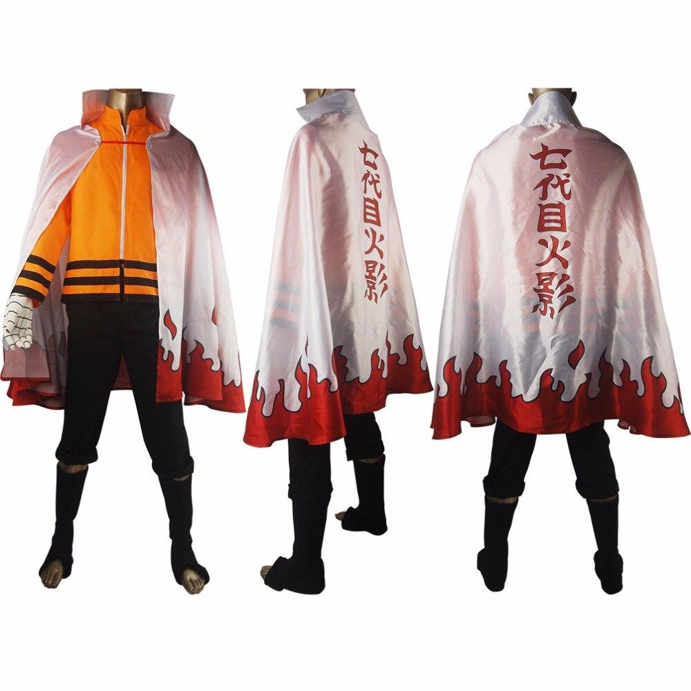 Naruto 7th Hokage Naruto Uzumaki Outfit Uniform Full Set Cosplay Costume Halloween