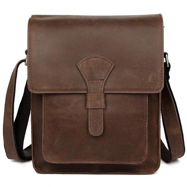 56581835098 TIDING Vintage Genuine Crazy Horse Leather Men Messenger Bag Handbag Retro  Shoulder Bag Tote For iPad Bag Cowhide Crossbody Bag