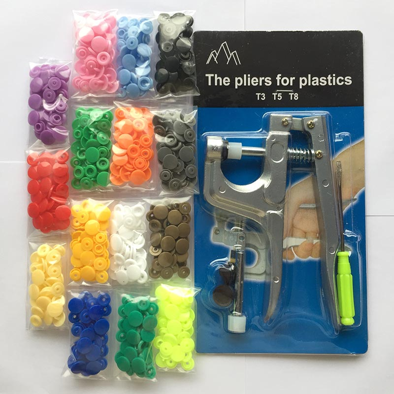 150 Plastic Fastener Snap Resin Press Stud Cloth With//Without KAM Button Plier