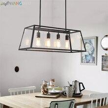 Lámparas colgantes Retro de hierro acrílico para restaurante, Rectangular, comedor, cafetería, Vintage