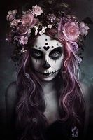 2015 TOP ART Oil Painting DOD SUGAR LACE SKULL Flower Oil Painting 100 Hand Painted 24x36