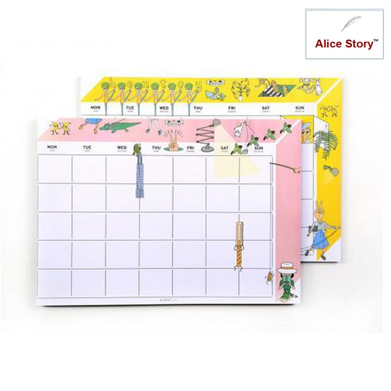Oohlala bentoy A4 size desk note pad monthly weekly planner desktop memo pad bentoy schedule agenda Weekly Schedule Refill 1pc a4 schedule organizer check list week planner sticker sticky note memo pad