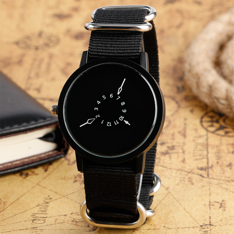 Creative Turntable Dial Nylon Band Strap Wristwatch Quartz Movement Cool Black Male Female Watches For Christmas