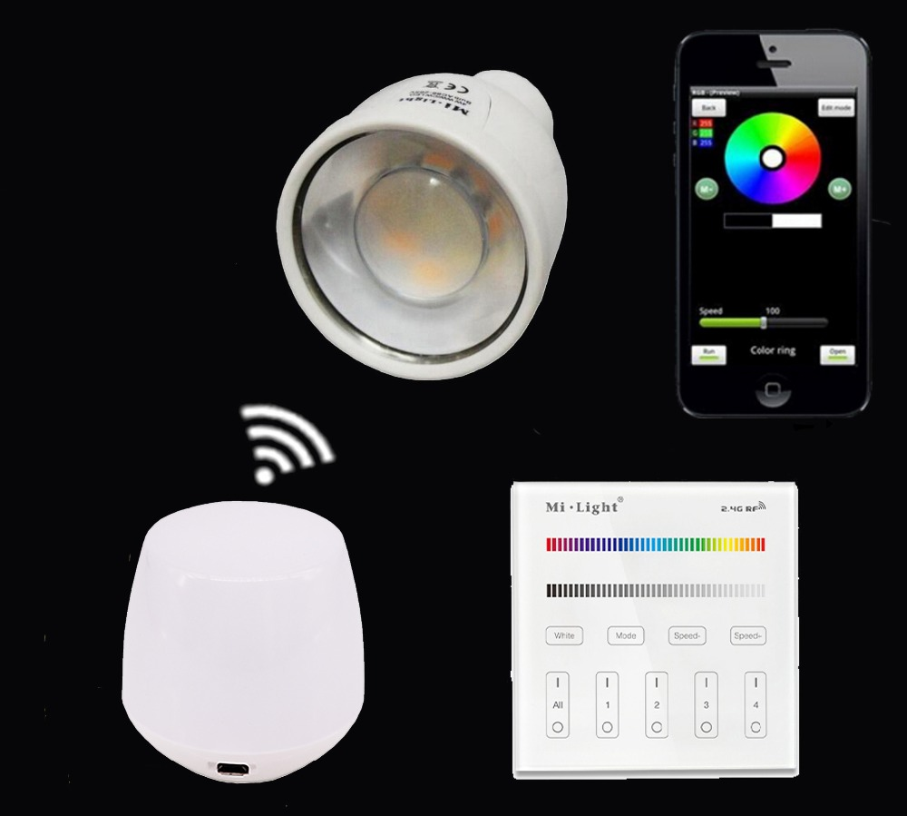 2.4G GU10 5W RGBW/RGBWW Led Bulb Lamp+Mi.light Wifi Ibox Night Light With Color Change+B3/T3 Touch Panel Remote Controller яйцеварки first яйцеварка