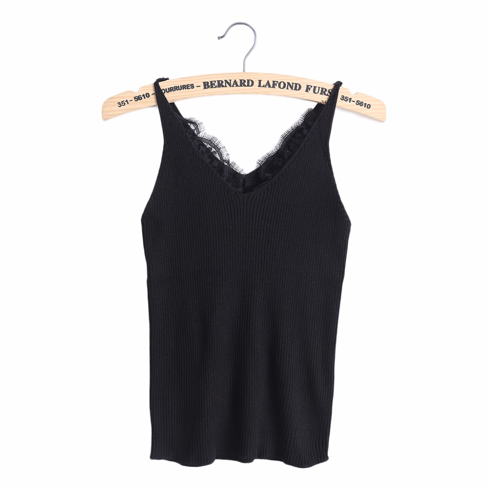 2017 New knitted Tank Tops Women Summer Camisole Vest simple Stretchable Ladies V Neck Slim Sexy Strappy Camis Tops