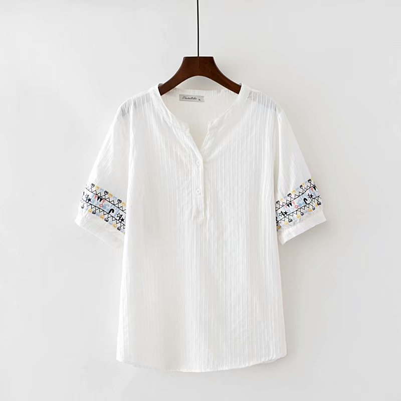 Plus size V-Neck short sleeve blouses women 2018 new fashion cotton Embroidered white striped shirt summer ladies tops ...