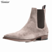 Handmade Spring Winter Kanye West Shoes Boots Chelsea Ankle Boots Real Leather Wedding Party Dress Boots Motorcycle Men Boots