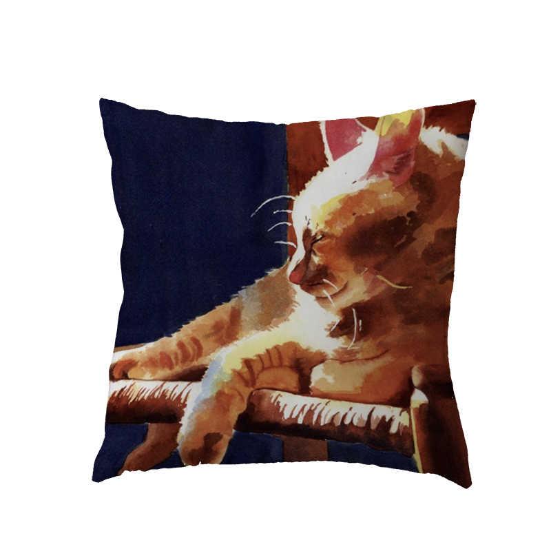 Preguiçoso bonito Do Gato Capa de Almofada de Poliéster Pele de Pêssego Impressão Lanterna Tomates Unilateral Cadeira Do Sofá Do Assento de Carro Para Casa Decoração Travesseiro Casos