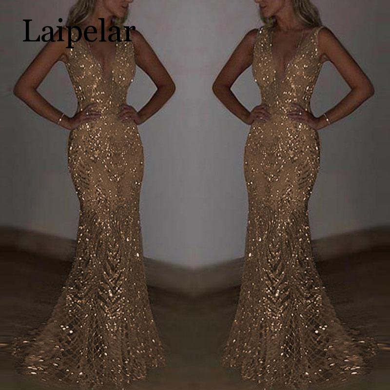 Laipelar Womens Sequins V neck Dress Long Evening Party Formal Wedding Ball Prom Gown in Dresses from Women 39 s Clothing