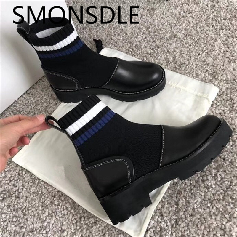 SMONSDLE New Style Black Genuine Leather Women Ankle Boots Round Toe Slip On Women Autumn Winter Platform Boots Shoes Woman new fshion women ankle boots genuine leather round toe zapatos mujer slip on patchwork female shoes