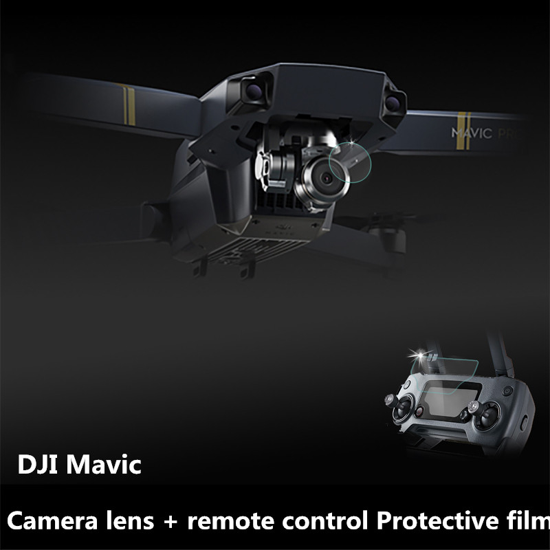 1set Mavic Pro Camera lens + remote control HD Protective film Transparent UV tempered glass Protector for DJI Mavic Drone