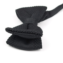 Men Neck Ties Tuxedo Knitted Bowtie Soild Color Bow Tie Thick Double Deck Pre Tied Adjustable Knitting Casual Ties