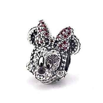 Fits Silver Charms Bracelet 925 Silver Pave Crystal Beads Sparkling Mouse Portrait Sterling-Silver-Jewelry Charms DIY Jewelry фото