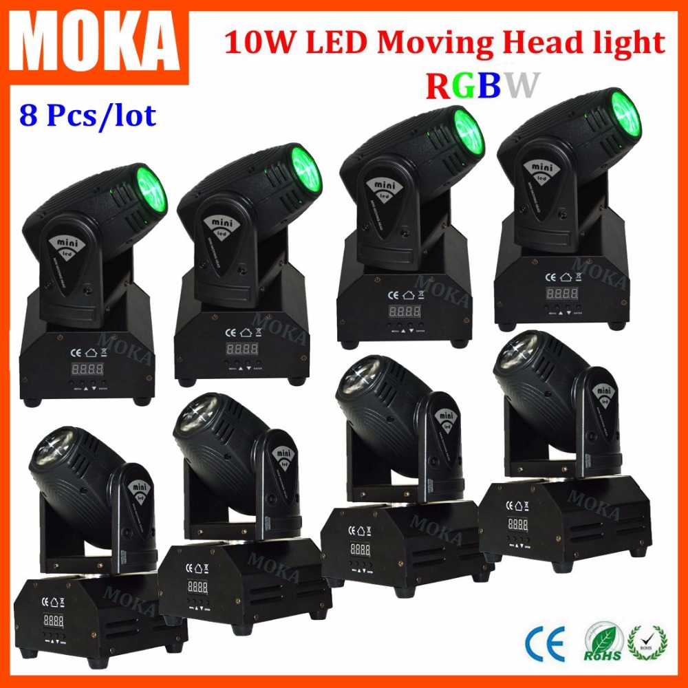 8PCS/LOT One Single 10W Mini Spot Led Moving Head Stage KTV Nightclub Bar Lights for Sale DMX512 Lighting RGBW 4 IN 1 Light 8pcs lot one single 10w mini spot led moving head stage ktv nightclub bar lights for sale dmx512 lighting rgbw 4 in 1 light