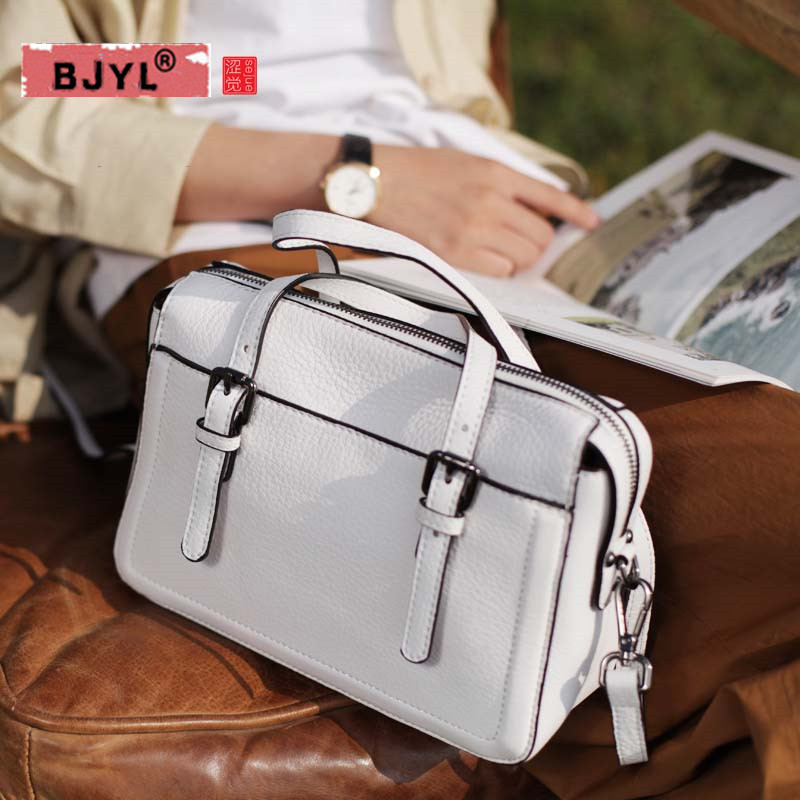 BJYL New Fashion Soft Real Genuine Leather Tassel Women Handbag Elegant Ladies Hobo Shoulder Bag Messenger Purse Satchel White f 7382 new women satchel bag fashion tote messenger leather purse shoulder handbag hobo