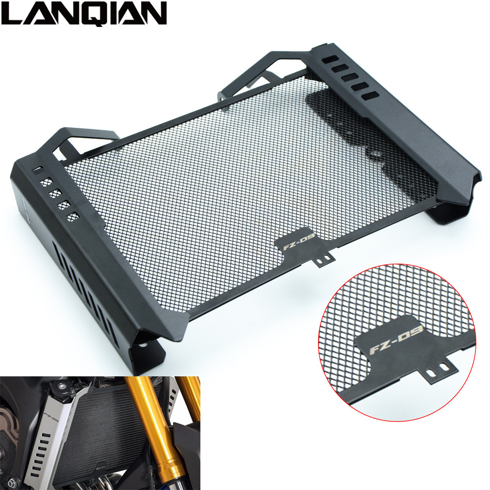 HOT For Yamaha FZ09 2014 2015 Stainless Steel Protector Motorcycle Radiator Grille Guard Protector Set FZ 09 14 15 FZ-09 LOGO new stainless steel protector motorcycle radiator grille guard protector set for yamaha fz09 fz 09 fz 09 2014 2015 14 15 k14 k15